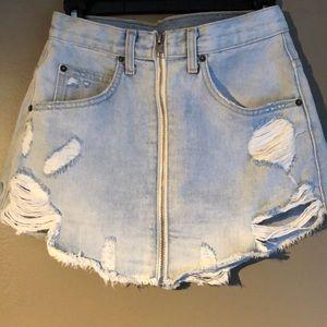 LF front zipper jean skirt
